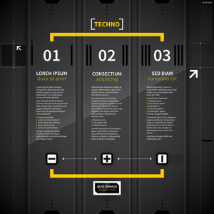 Three Vertical Banners In Techno Style.