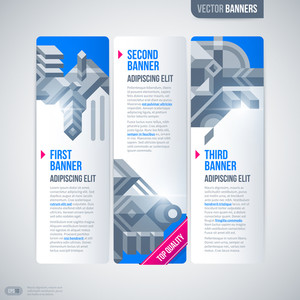 Three Vertical Banners With Modern Design Elements. Eps10
