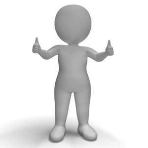 Thumbs Up 3d Character Showing Success And Approval