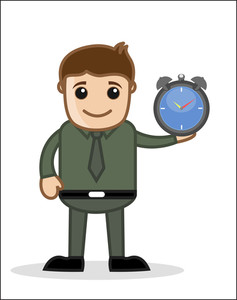 Time Concept - Office And Business Cartoon Character Vector Illustration