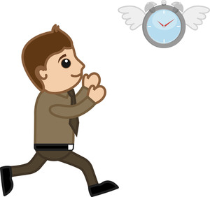 Time Flying Away - Vector Character Cartoon Illustration