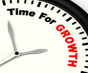 Time For Growth Message Showing Increasing Or Rising