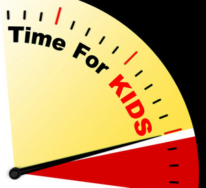 Time For Kiids Message Shows Playtime Or Starting Family