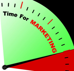 Time For Marketing Message Representing Advertising And Sales