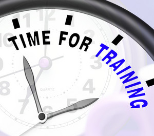 Time For Training Message Showing Coaching And Instructing
