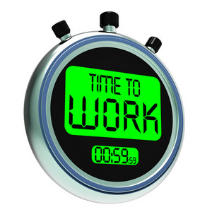 Time To Work Message Showing Start Jobs Or Employment