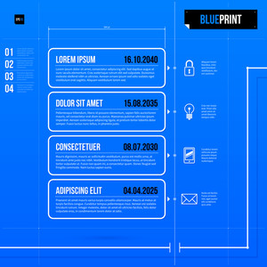 Timeline Template In Blueprint Style With Four Rectangle Banners. Eps10