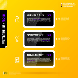Timeline Template With Three Horizontal Banners On Bright Yellow Background. Eps10