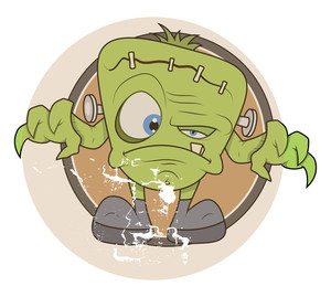 Tiny Green Monster Vector Illustration