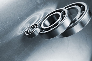 titanium bearings and steel background