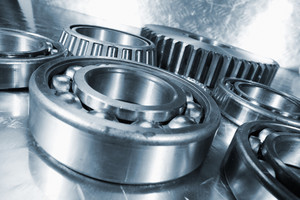 titanium engineering ball-bearings in close-ups