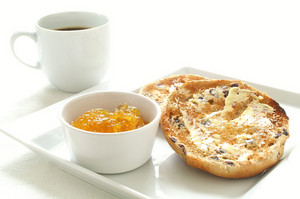 Toasted Tea Cake With Marmalade And Coffee Cup