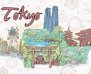 Tokyo Doodles Vector Illustration