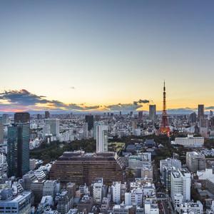 Tokyo top view sunset. Japan