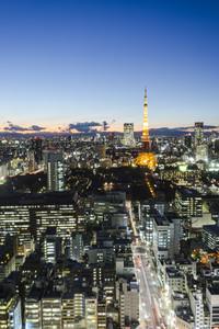 Tokyo tower skyline cityspace sunset view