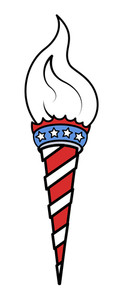 Torch Light 4th Of July Usa Vector