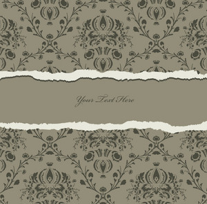 Torn Damask Wallpaper Vector Illustration