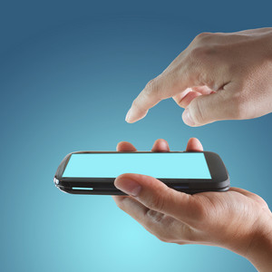 Touch Screen Mobile Phone And Pointing Hand