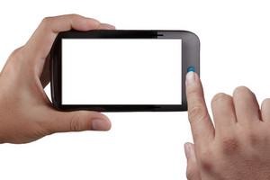 Touch-Screen-Handy, in der Hand