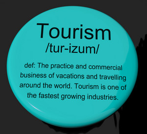 Tourism Definition Button Showing Traveling Vacations And Holidays