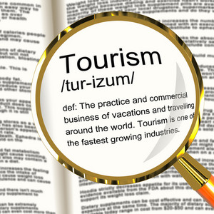 Tourism Definition Magnifier Showing Traveling Vacations And Holidays