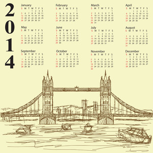 Tower Bridge Vintage 2014 Calendar
