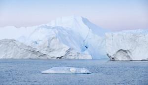 Towering icebergs in the ocean
