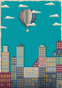 Town And Air Balloon