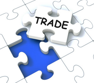 Trade Puzzle Shows Market And Commerce