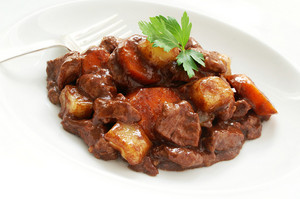 Traditional Beef Stew On White Plate