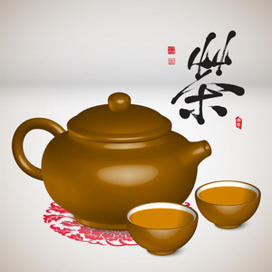 Traditional Chinese Tea Set. Translation: Tea