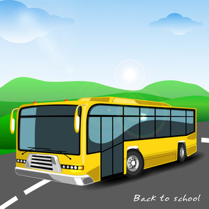 Traditional School Bus On Abstract Background.
