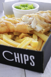 Traditionalfish And Chips In Box