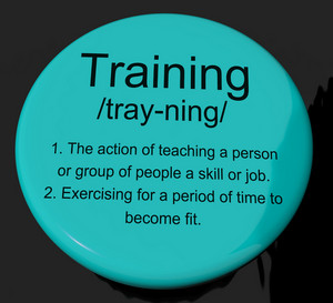 Training Definition Button Showing Education Instruction Or Coaching