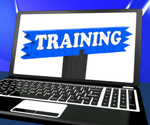 Training On Laptop Shows Coaching