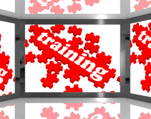 Training On Screen Showing Educating