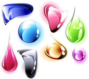 Transparent Color Drops On White Background. Vector.