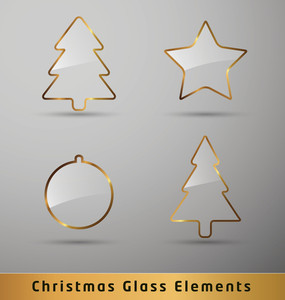 Transparent Glass Christmas Elements With Golden Borders