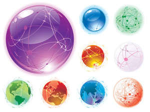 Transparent Glossy Globes. Vector.