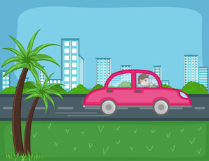 Travel By Car - Cartoon Background Vector
