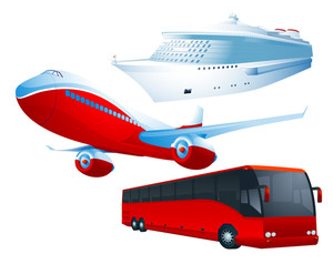 Travel Transportation Set. Vector.