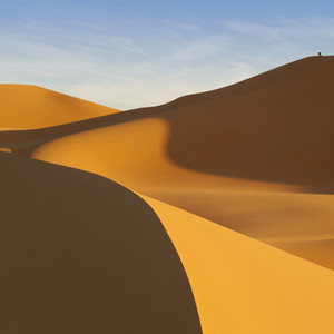 Traveler atop a sand dune in the desert