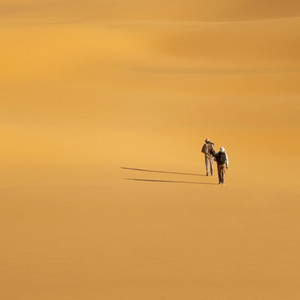 Travelers hiking in an endless, sandy desert