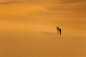 Travelers walking through a sandy desert