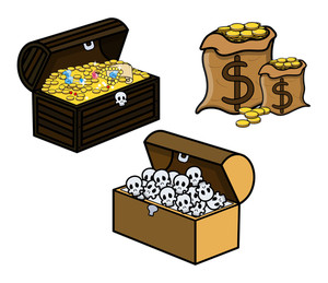Treasure And Skull Filled Trunks And Bag Of Coins - Cartoon Vector Illustration