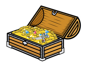Treasure Box - Cartoon Vector Illustration