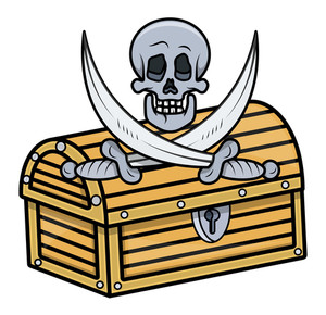 Treasure Box With Skull And Crossed Sword - Vector Cartoon Illustration