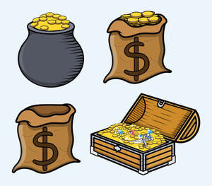 Treasure Boxes And Bags - Cartoon Vector Illustration