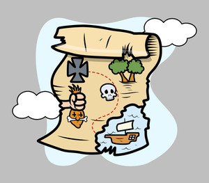 Treasure Island Map - Vector Cartoon Illustration