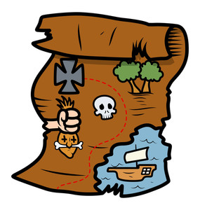 Treasure Map - Vector Cartoon Illustration